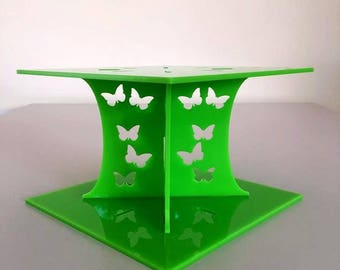 """Butterfly Square Lime Green Gloss Acrylic Cake Pillars/Cake Separators, for Wedding/Party Cakes 10cm 4"""" High, Size 6"""" 7"""" 8"""" 9"""" 10"""" 11"""" 12"""""""