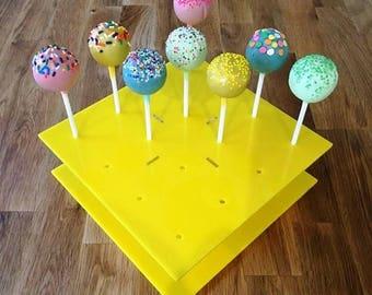 "Square Yellow Gloss Acrylic Cake Pop Stands - 21cm x 21cm 8"" (16 cakepops) or 30cm x 30cm 12"" (32 cakepops)"