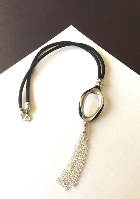 Tassel Necklace with Black Mokuba Cord, Silver Organic Pendant and Chain Tassel