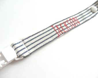 Personalised Dummy Clip/Pacifier Holder -Navy Stripes