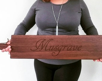 26 inch-Personalized French Bread Board in Walnut or Maple- SCRIPT Name Engraved Wedding Gift- By Red Maple Run