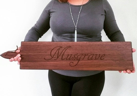 26 inch-Personalized Wooden Serving Bread Board in Walnut or Maple- SCRIPT Name Engraved Wedding Gift- By Red Maple Run