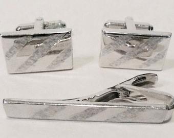 Speidel Mid Century Silver Tone Cuff Link And Tie Clip Set