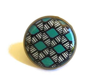 ETHNIC RING - african Ring - Geometric Ring - geometric jewelry - african jewelry - Ethnic jewelry - Adjustable - Statement Ring - turquoise