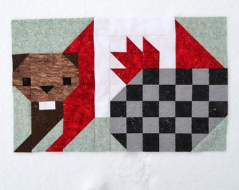 Beaver Quilt BLOCK Pattern, PDF, Instant Download, modern patchwork, patriotic, canadian beaver, animal, cute, woodland