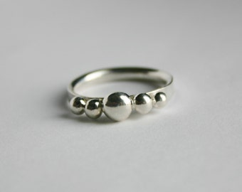 Sterling Silver 5 ball Ring, Spinner Ring, Thumb Ring, Men's Thumb Ring, Women's Spinner Ring