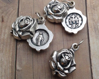 Rose Locket Medal, Our Lady medal, Catholic Pendant. Locket Style Miraculous Medal. Sliding Silver Rose Locket