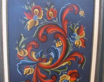 Norwwegian Rosemaling 16 inch by 20 inch framed painting