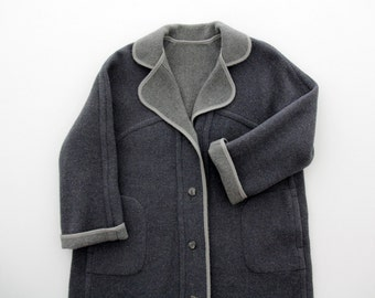 Vintage Coat // Reversible Long Oversized Dark and Light Gray Coat