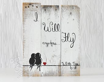 Rustic Wood Sign Reclaimed Wood Art Love Birds Sign Rustic Love Gift Wedding Gift for Couple 5th Anniversary Gift Wood Gift Love Gift