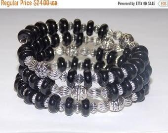 20%OFF Black with Tibetan Silver Wrap Bracelet