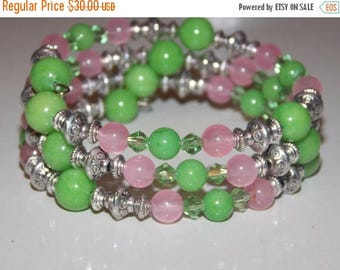 20%OFF Apple Green and Pink Candy Jade Wrap Bracelet