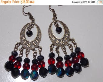 15%OFF Black and Red Oval Bronze Chandelier Earrings
