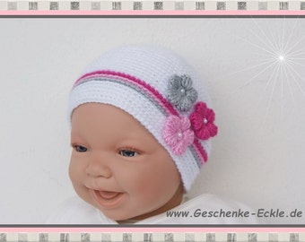 Baby Hat new born Hat white pink pink grey with crochet flowers