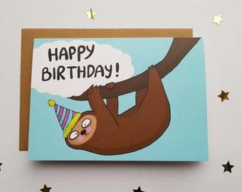 sloth card, Birthday card