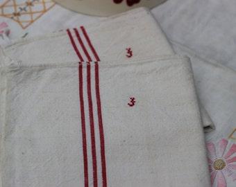 Tea towel 70 / 50cm with red Monogram litteaux vintage antique linen