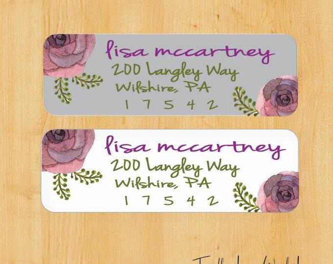 Watercolor Flower Label | Return Address Label | Custom Address Label | Gift for her | Gift for Mom | gift for Sister