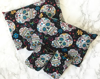 Sugar Skull Crutch Pad Cover Complete Set for Armrest and Handles