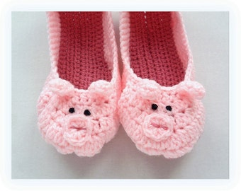 Women's Crochet Slippers, Pink Piglet Slippers, Easter Hand Made Pig Slippers Pink Slippers, Women's Piglet Slippers, Crocheted Pig Slippers
