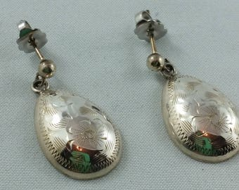 1970s Birks Sterling Silver Etched Drop Studs Pear Shape