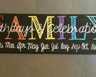 Family birthday and celebrations board, birthday board,birthday organization