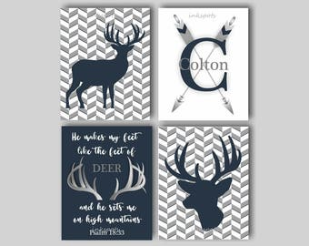 Baby Boy Nursery Art Rustic Nursery Art Deer Nursery Bedding Decor Woodland Nursery Psalm 18 Camouflage Deer Print Choose Colors WD4406