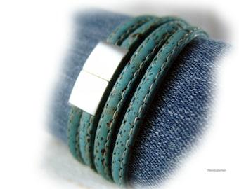 Damen Herren Kork Armband Wickelarmband blau hell petrol silber - Korkarmband Edelstahl - Geschenk für sie ihn Ehefrau Freundin Freund vegan