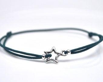Silver star bracelet dark blue cord