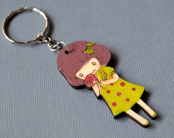 Green girl keychain