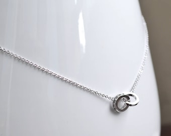 Silver handcuff necklace zirconium