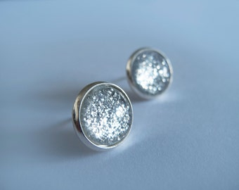 Silver Sparkly Round Stud Earrings