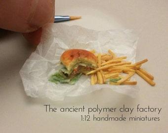 Miniature bitten hamburger