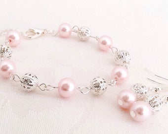 Pink Bracelet, Blush Jewelry, Pink Bridesmaid Jewelry, Blush Pearl Bracelet, Wedding