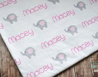 Personalized baby name elephant swaddle design blanket: baby and toddler personalized name newborn hospital gift baby shower gift