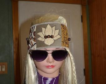 Patchwork boho corduroy and calico headbands with lotus