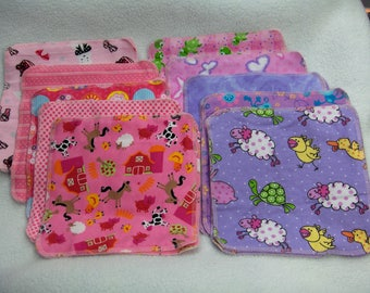 """2 layer flannel baby wipes  x 20-""""Girls in the Pink""""/Cloth Wipes"""