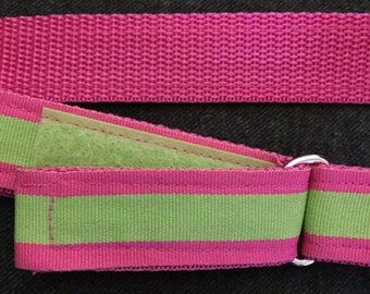 Child's Velcro Belt: Pink and Green Preppy, size 5/6