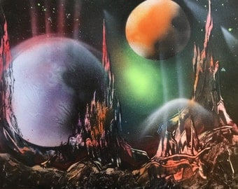 Spray Paint Art Space Scene Space City Speed Painting Planets