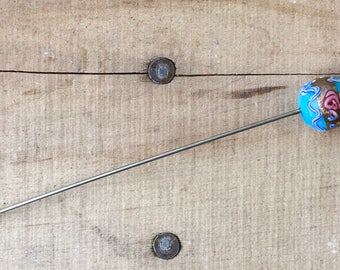 Blue Rose Bead and Crystal Hair Pin Accessory