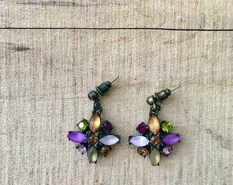 Vintage Multi-Colored Gemstone Cluster Earrings