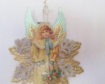 Victorian angel Christmas ornament