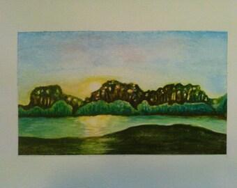 """Watercolor landscape 6.5"""" x 11"""""""