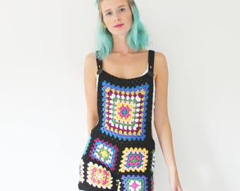 Crochet Dungarees - Multi coloured - Handmade - Vintage Style - Size Small - As Worn by Hayley Williams!