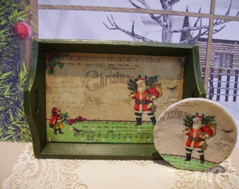 Merry Christmas Miniature Wooden Tray for Dollhouse 1:12 scale