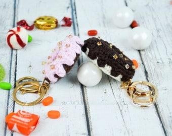 crochet donut keychain,crochet donut accessory,crochet donuts purse accessory,cotton donuts keychain accessory,purse accessory,pretend donut