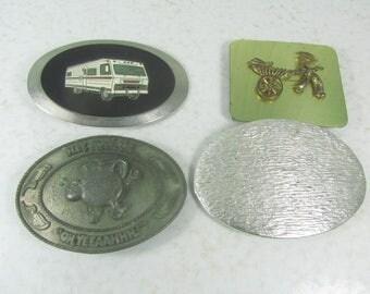 Vintage Belt Buckle collection, Set of Four Buckles, Motor Home Belt Buckle, Indiana Metal Craft Buckle, Koolaid Belt Buckle