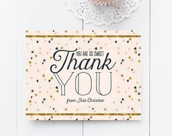 Stars Thank You Cards - Twinkle Twinkle Birthday Party Thank Yous - Printable DIY Thank You Notes - Instant Download