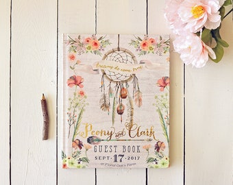 Gold Boho Wedding Guest Book • Gold Foil Bohemian Dream Catcher Personalized Guestbook • 8 x 10