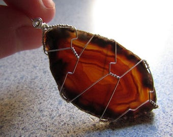 Brown Agate Slice Wire Wrapped Crystal Pendant