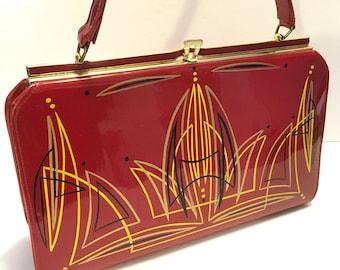 Red Patent Leather Handbag 1950s/1960s Vintage Purse / Evening Bag